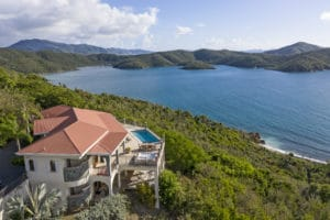 Estate Fortsberg villa aerial view Coral Bay