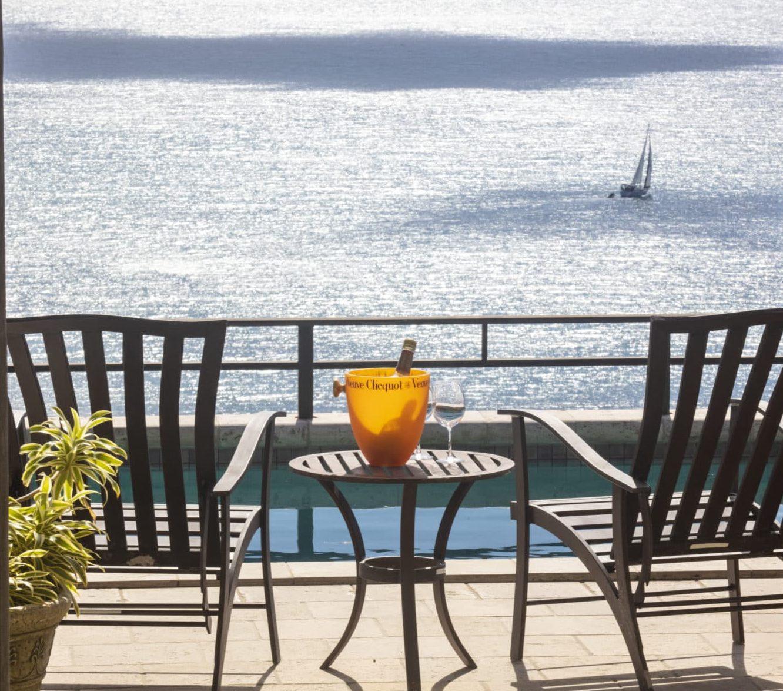 Estate Fortsberg villa deck view Coral Bay sailboat