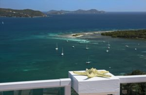 view of Coral Bay and the BVIs from wind ridge deck